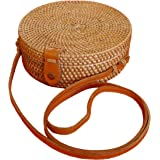 Pro@Home43 Original Bali handmade Damen Rattan Handtasche Umhängetasche Schultertasche - rund