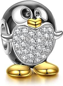 NINAQUEEN® Bead Charm Penguin - Piedi Felici Argento Sterling 925, Smalto Squisita, con Confezione Regalo