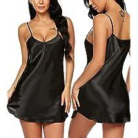 RSLOVE Women Negligees Mini Slip Satin Lingerie Sexy Chemise Silk Sleepwear Nightgown