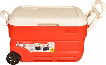 Princeware Insulated Chiller Ice Box with Wheels,Tap,Long Handle 40 LTR (Red)