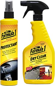 Formula 1 Car Interior Care Kit (Dry Clean Carpet & Upholstery Cleaner 592ml, Protectant 295ml)