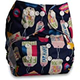 Littles & Bloomz, Reusable Pocket Cloth Nappy, Fastener: Popper, Set of 1, Pattern 1, Without Insert