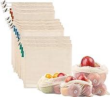 NEWSTYLE Bolsa de Producción Reutilizable,Juego de 10 Bolsas de Malla Reutilizables Perfectas para Productos Frescos,...