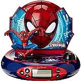 Marvel, Reloj Despertador con proyector Spider-Man, Luz de Noche incorporada, proyección de Tiempo en el Techo, Efectos de So
