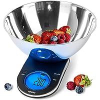 Duronic KS5000 Balance de cuisine | Capacité de 5 kg | Bol inclus | Large écran rétroéclairé | Fonction d'ajout de poids…