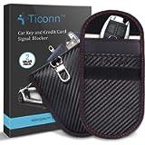 Faraday Bag for Key Fob (2 Pack), TICONN Faraday Cage Protector - Car RFID Signal Blocking, Anti-Theft Pouch, Anti…