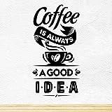 Coffee Good Idea Taza de café para llevar Tienda de vinos Vinilo pegatina Letrero de ventana Decoración de signo de arte de p