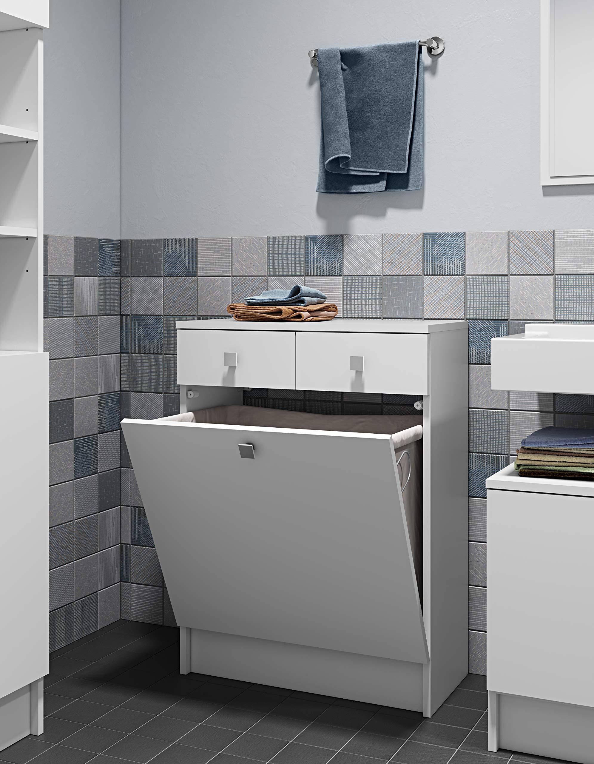 Symbiosis 6084 a2121 a17 Küchenunterschrank Zeitgenössische Küchenschrank  mit 2 Schubladen/1 Becken Wäschekorb weiß 60 x 29,6 x 81,5 cm - ...