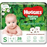 Huggies Nature Care Pants, Small (S) Size Baby Diaper Pants, 28 Count, Nature's gentle protection with organic cotton
