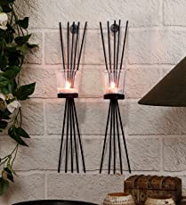 Tied Ribbons Metal Tealight Candles with Tealight Holder (30.48 cm x 7.62 cm x 40.64 cm, Black, TR-LeafTlightHolder005)