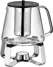 WMF TeaTime Teekanne mit Sieb und Stövchen, Glas, Edelstahl Cromargan, spülmaschinegeeignet, V 1,2l, H 21,3cm