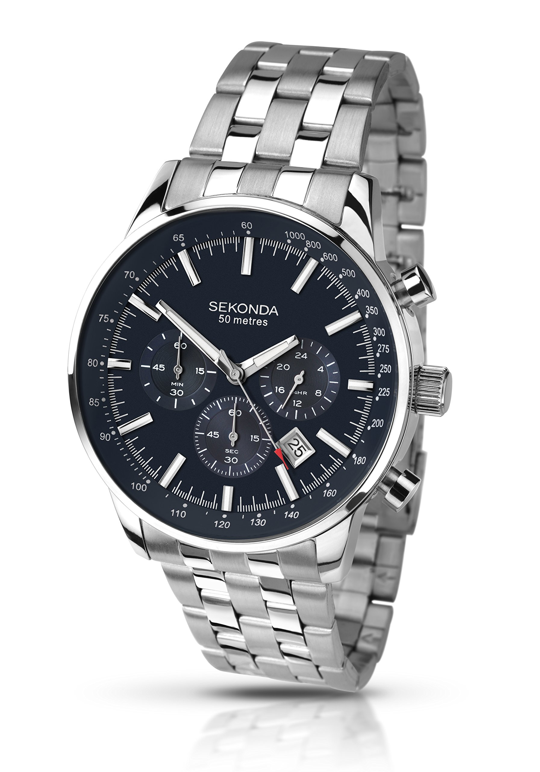 Sekonda Men's Quartz Watch with Blue Dial Chronograph Display and Silver Stainless Steel Bracelet 1008.27