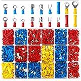 Kabelschoenen knelverbinders, assortiment, 1200 stuks. Elektrische connectoren bevat ringkabelschoenen, ronde stekkers, ronde