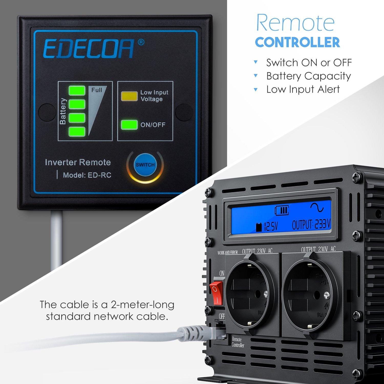EDECOA inversor 12v 220v onda pura 1500w transformador de corriente onda pura con mando a distancia y pantalla LCD