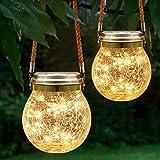 Bojim Lanterne Solaire Exterieur Jardin, 2x Lampe Solaire Exterieur Jardin IP55, Lumiere Solaire Exterieur, Led Eclairage Ext