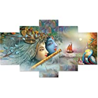 Crarts Décor Set Of 5 Shri Krishna And Radha Flute Love Framed Wall Painting 3D Scenery For Living Room , Home Décor…