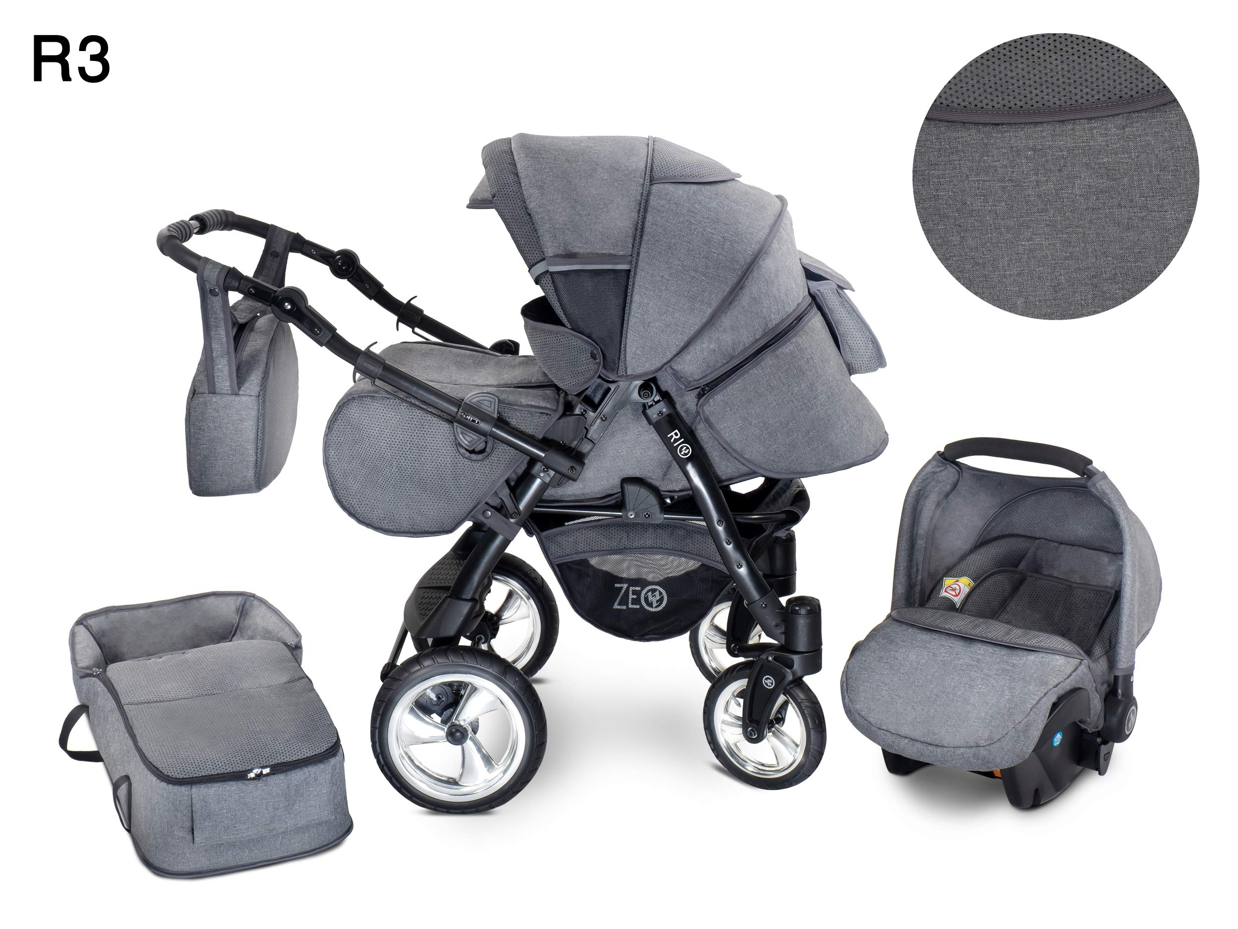 Baby Pram Zeo Rio 3in1 Set - All You Need! carrycot Gondola Buggy Pushchair car seat (R3) Zeo 3 in 1 combination stroller complete set, with reversible handle to the buggy, child car seat or baby carriage Has 360 ° swiveling wheels, two-fold suspension, four-stage backrest, five-position adjustable footrest and a five-point safety belt The stroller can be easily converted into other functions and easy to transport 2