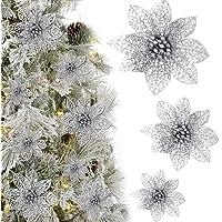KBNIAN Lot de 24 Pièces Fleur Étoile de Noël Poinsettia Artificielle d'Argent Scintillant Ornement de Sapin Couronne…