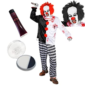Killer Clown Halloween Costumes For Girls.Deluxe Killer Clown Costume Halloween Fancy Dress Costume With Accessories Adults Crazy Clown Costume Plus Black Wig Clown Nose Fake Blood Clown