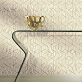 """RoomMates Gold and White Stripped Hexagon Peel and Stick Wallpaper, 20.5"""" x 16.5 feet - RMK10704WP"""