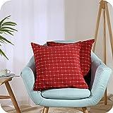 Amazon Brand - Umi Lot de 2 Housse de Coussin Rectangulaire 40x40cm Rouge Décoratif Canapé Salon Moderne