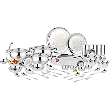 Classic Essentials Stainless Steel Glory Premium Dinner Set 61 Piece With Lazer Design