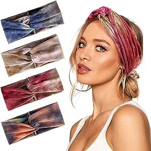 Bascolor Bandeau Cheveux Femme fleur imprimé Hair Bande élastique Turban Cheveux Sport Headband pour femme Cheveux Accessoire (4pcs tie dye bandeau)