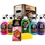 Demon 7 Piece Car Cleaning Kit Gift Pack - Foam Shine Polish Clean Wheels Tyres Sponge and Air Freshener Set Detailing…