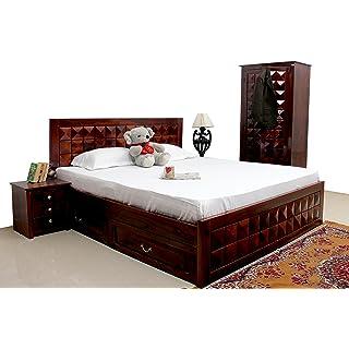 INDUSCRAFT ANTILIA Diamond Bed King Size Solid Wood Storage Drawer SHEESHAM Wood Furniture