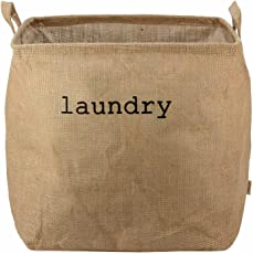 Hokipo Laundry Basket 54-Litre Natural Moisture-Resistant Jute Laundry Hamper With Handle