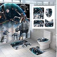 GjbCDWGLA Ensemble De Rideau De Douche Star Wars avec Tapis Antidérapant, Housse De Couvercle De Toilette, Tapis De Bain…