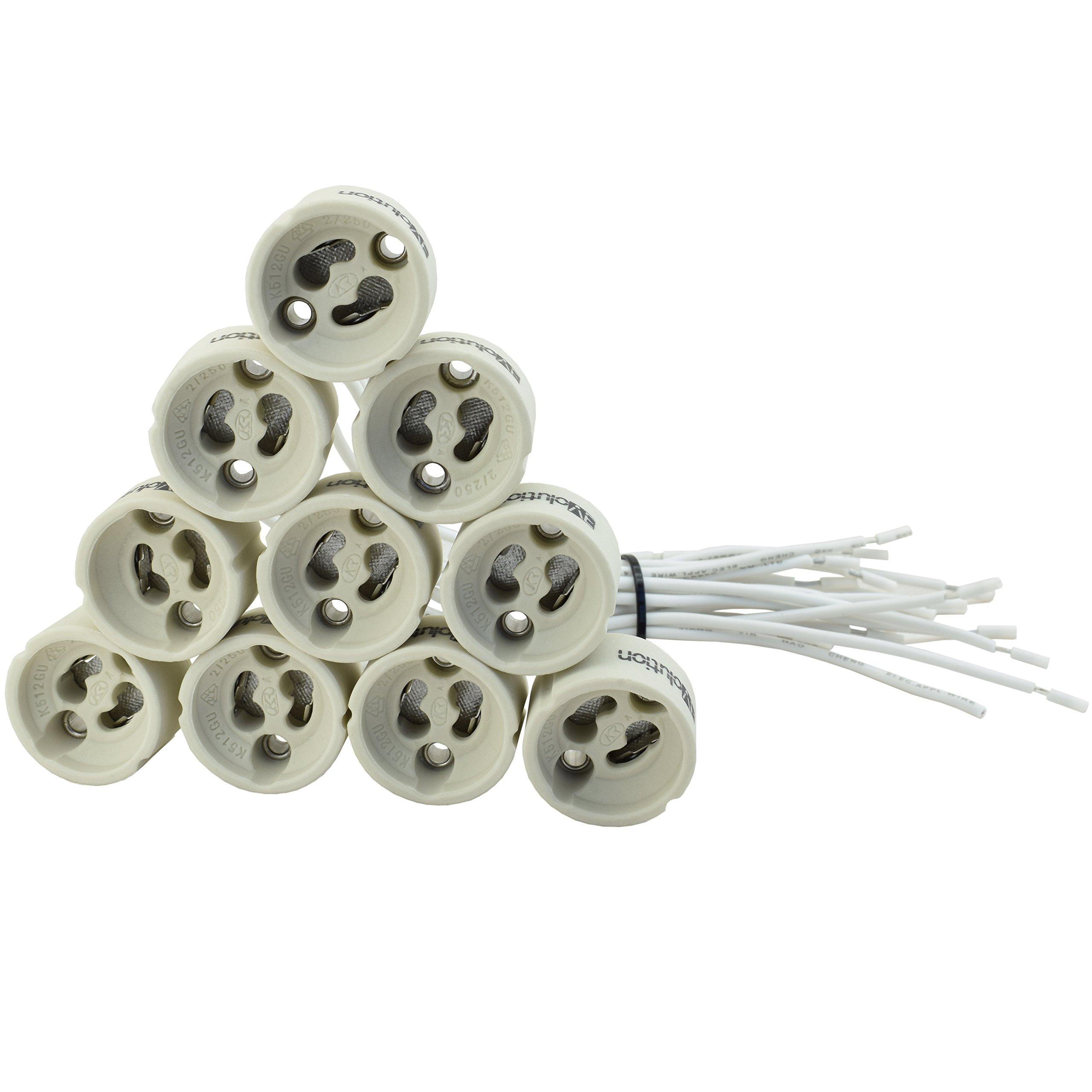 N.20 porta lampada in ceramica EVolution GU10 | Pacchetto Offerta! | 0,75mm² cavo in silicone | per