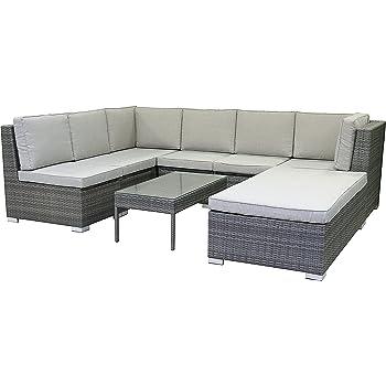 greemotion rattan lounge set melina gartenm bel 5 teilig in bicolor grau mit auflagen. Black Bedroom Furniture Sets. Home Design Ideas
