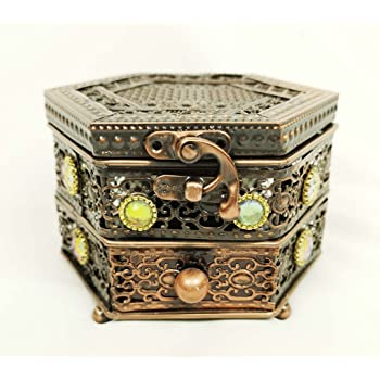 Hexagonal Copper Metal Trinket Incense Box Decorative Arabian Simple Decorative Metal Boxes With Lids