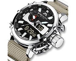 MEGALITH ® Montre Homme Militaire Sport Montre Digitale Hommes Etanche Chronographe LED Grand Cadran Digitale Analogique Mont