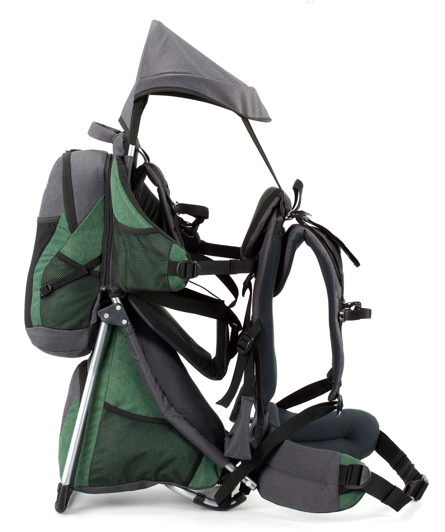 Montis HOOVER NEXUS, Child Hiking Backpack Carrier, suitable for babies & toddlers with a stable seat, low weight suitable, many extras, premium quality (GREEN) M MONTIS OUTDOOR ✅ SAFE - Practical baby carrier backpack completely adjustable with wide 5-point child harness for children weighing up to 25 kg instead of 20 kg. Thanks to height-adjustable seat cushions, padded side panels, a rear headrest, and forehead cushions, it is ideal for hiking in the city or in the country. With reflective elements on the front and back for night protection. ✅ COMFORTABLE - Suitable for both parents thanks to adjustable shoulder straps, a 14 cm adjustable chest strap with a vertical position for women's ergonomics, and reinforced back area (incl. ventilation system) with load distribution to the pelvic belts. We use materials of the highest quality and focus on flawless manufacturing. ✅ SPACIOUS - Removable additional backpack 10L and seat pocket with 18L volume provide the carrier with additional storage space for water bottles, rain protection, sun protection, changing mat and much more. In addition, the straps of the baby carrier are equipped with small quick-access pockets to avoid the need of constantly taking off the carrier. 3