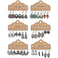 CASSEICA 36 Paia Orecchini Pendenti Vintage Etnici per le Donne Ragazze Orecchini in Bronzo Argento con Perla Foglia…
