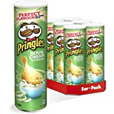 Pringles - Sour Cream and Onion Crisps - 200 grams x 6 packs - Stackable potato-based chips - Savory snack with sour cream &