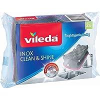 Vileda 157403 éponge INOX Clean & Shine 3en1, Gris