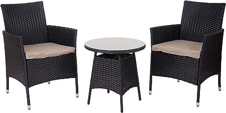Mendler Poly-Rattan-Garnitur HWC-A82, Balkon-Set Gartenmöbel Sitzgarnitur
