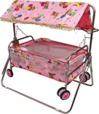 Tender Care Baby Printed Cradle Swing -Baggi Jhula with Roof Hood (Pink)- Iron Body