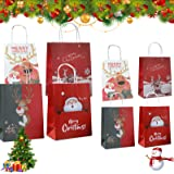 12 PCS sacchettini Carta,Buste Regalo,Sacchetti Regalo in Carta Kraft,Sacchetti Regalo Carta,Piccoli Natale scatole Regalo Na