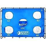 Best Sporting Unisex ungdomlig fotbollsmål med målvägg 5 skotthål blå boll, en storlek