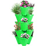 POTS4NATURE Sharpex Garden Stacking Vertical Plastic 5 Tier Indoor/Outdoor Gardening Tower Planter Pot for Fresh Herbs, Veget