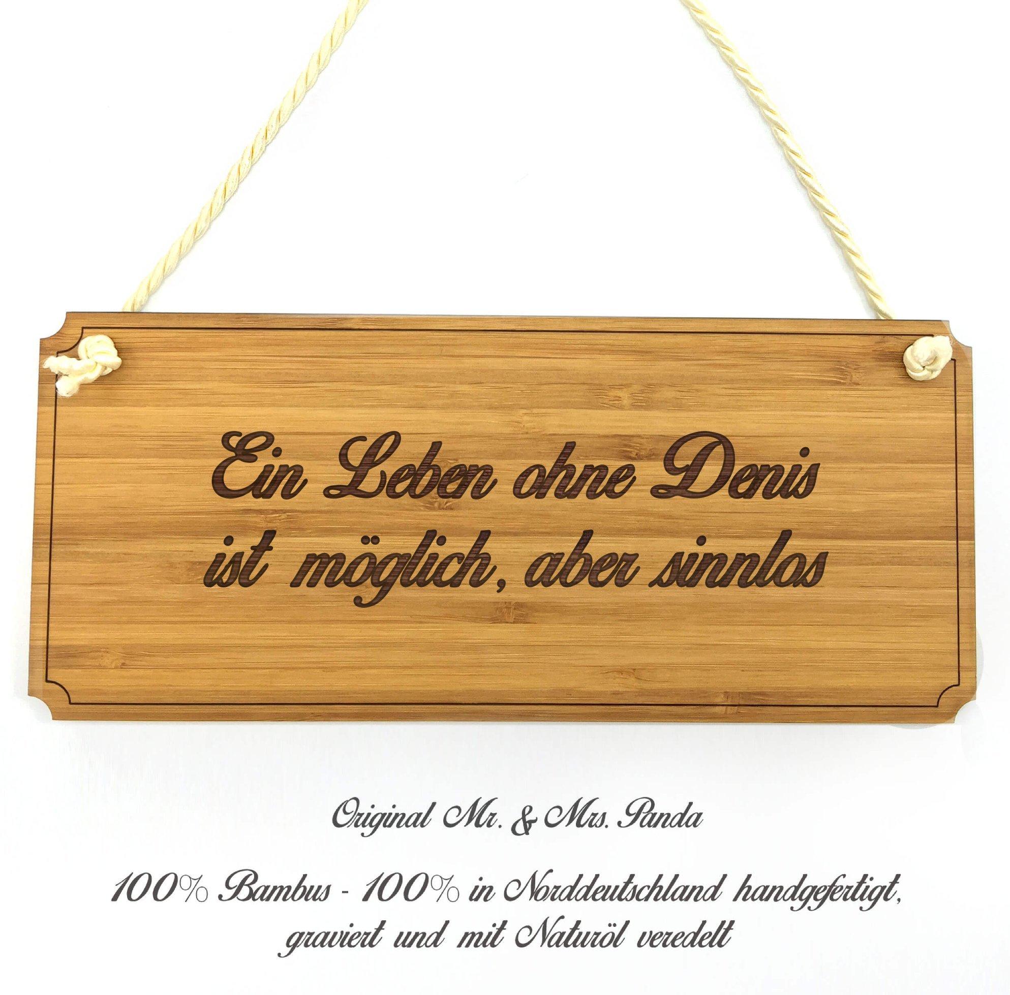 Mr. & Mrs. Panda Türschild Denis Classic Schild - 100% handgefertigt aus Bambus Holz - Anhänger, Geschenk, Vorname, Name…