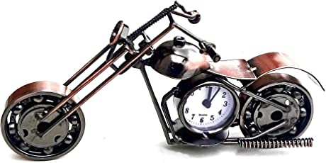 """Mohangifts Scrap Metal Art Metal Miniature Motor Bike with Table Clock 6"""""""