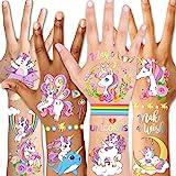 Qpout Tatuaggi temporanei per bambini, tatuaggi glitterati unicorno per compleanno bambini ragazze bambini accessori per fest