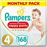 Pampers Premium Protection Nappy Pants Size 4, 168 Nappy Pants, 9-15 kg, Monthly Saving Pack, Gentlest Touch On Skin In…