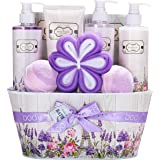 Cestas de Regalo para Mujer, Body & Earth Set de Baño Mujer de 10 Piezas a Fragancia Rosa y Lavanda Caja Spa Regalo con Gel d
