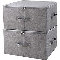 Boîte de rangement pliante avec couvercle à fermeture à glissière et poignées, Panier de rangement avec tissu en lin…